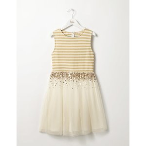 Sparkly Tulle Dress (Ecru/Gold)