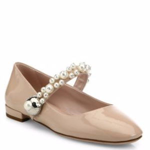 Pearly Patent Leather Mary Jane Flats