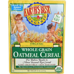 Earth's Best Organic Whole Grain Oatmeal Cereal -- 8 oz