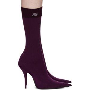 Purple BB Heeled Sock Boots