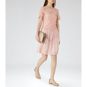 Milla Tea Rose Lace-Top Dress - REISS