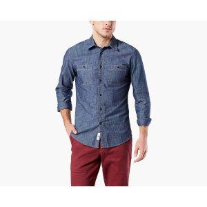 Premium Chambray Shirt, Slim Fit | DARK INDIGO | Dockers® United States (US)
