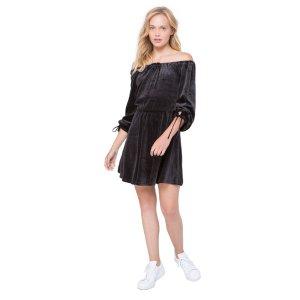Velour Flirty Off Shoulder Dress