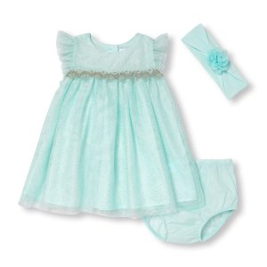 Baby Girls Sleeveless Metallic Dot Print Mesh Dress Flower Headwrap And Bloomers Set | The Children's Place