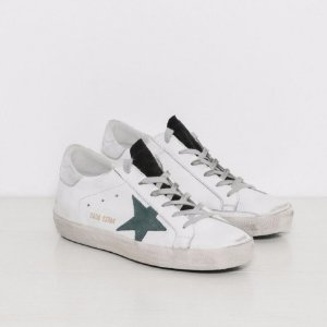 Golden Goose Sneakers Superstar in White with Petroleum Star