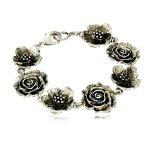 1928 Jewelry Silver-Tone Flower Clasp Link Bracelet, 7