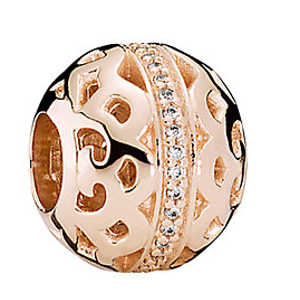 PANDORA 14K Rose Gold Plated CZ Path to Harmony Charm