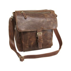 Amerileather Brown Leather Finn Messenger Bag | zulily