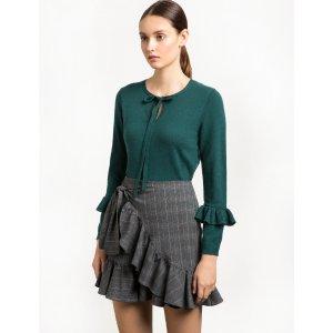 Dark Green Neck Tie Ruffled Sweater