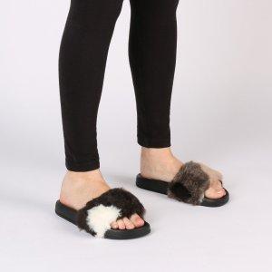Kendal Faux Fur Slider in Multi | Public Desire