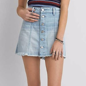 AEO Button Front Denim Skirt , Ice Blue | American Eagle Outfitters