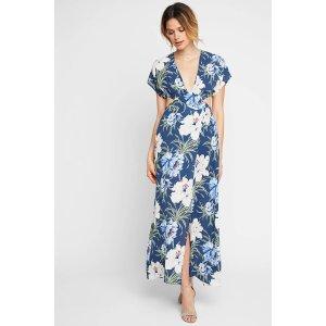 dRA Los Angeles Esme Floral Cut Out Maxi Dress   South Moon Under