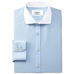 Extra slim fit spread collar non-iron Winchester sky blue shirt | Charles Tyrwhitt