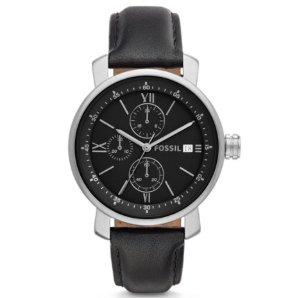 $34Fossil Rhett Chronograph Black Leather Men's Watch