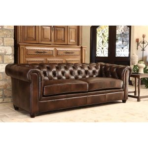 Abbyson Tuscan Chesterfield Brown Leather Sofa | Overstock.com Shopping - The Best Deals on Sofas & Loveseats
