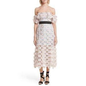 3D Floral Lace Off the Shoulder Midi Dress