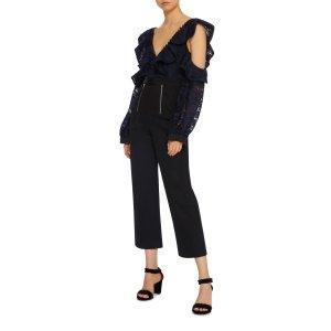 Camo Lace Ruffled Shoulder Jumpsuit | Moda Operandi