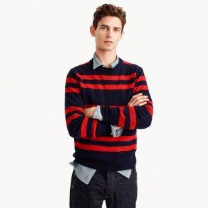 Lambswool crewneck sweater in navy stripe
