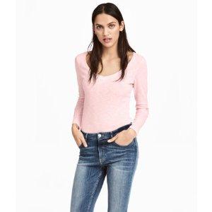 Slub Jersey Top | Light pink melange | Women | H&M US