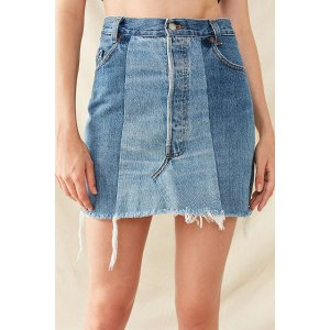 Urban Renewal Recycled Levi's Two-Tone Patched Denim Mini Skirt