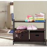 Closet Storage Organizer, MaidMAX 2nd Generation Clothes Organizer Collection with 3 Tier Shelves and 2 Collapsible Drawers, Brown
