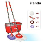Panda Premium Effortless Wring Spin Mop and Bucket Set (2 Mop Rods + 4 Mop Heads)