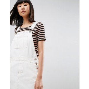 ASOS | ASOS Denim Overall Dress in Off White With Tobacco Stitch