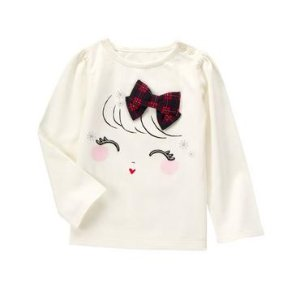 Toddler Girls White Holiday Girl Tee by Gymboree