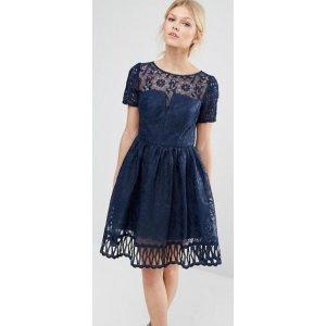 Chi Chi Petite | Chi Chi London Petite Premium Lace Dress Cutwork Detail And Cap Sleeve