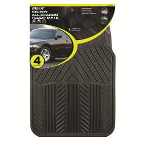 Pilot Automotive All Season 4 pc. Rubber Floor Mat Set - Black