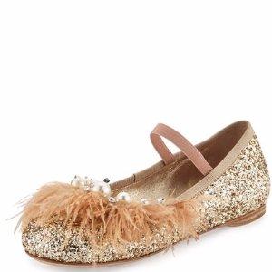 Miu Miu Feather-Trim Glitter Ballerina Flat