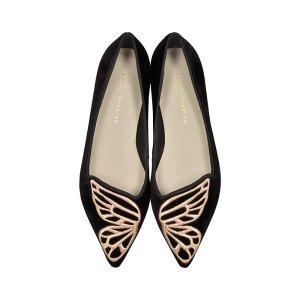 Sophia Webster Black Velvet Bibi Butterfly Flat Ballerinas