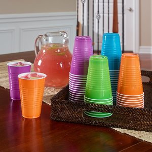 $5.9Hefty Plastic Party Cups (Assorted Colors, 16 Ounce, 100 Count)