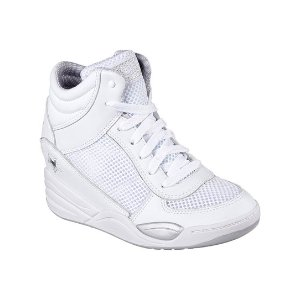 Skechers White Superblast Leathered Up Wedge Sneaker | zulily