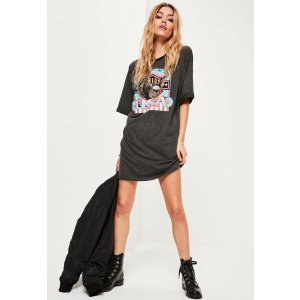 Printed Graphic Rock Jersey T-Shirt Dress Grey