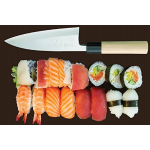 Hiroshi Nakamoto Premium Sushi and Sashimi Chefs Knife, High Carbon Steel and Stain Resistant Blade with a Beech Wood Handle, 6.5 Inch Blade