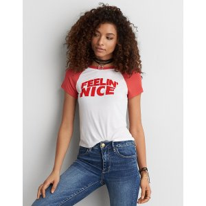 AEO Soft & Sexy Graphic Tomgirl T-Shirt, Red | American Eagle Outfitters