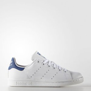 adidas Originals Kids' Stan Smith Leather White/Blue Comfort Shoe | eBay