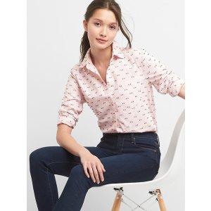 Clip-dot oxford fitted boyfriend shirt