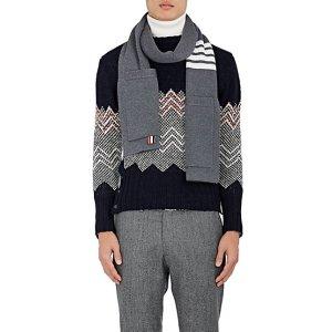 Striped Rib-Knit Merino Wool Scarf