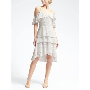 Limited Edition Eyelet Cold-Shoulder Flounce Dress | Banana Republic