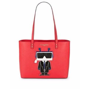 Graphic Patch Leather Tote