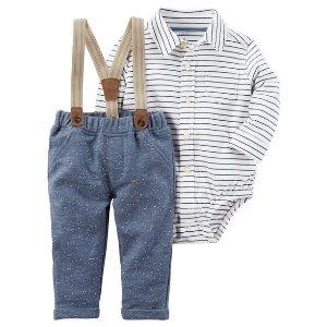 2-Piece Striped Bodysuit and Suspender Pant Set
