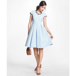 Petite Pleated-Stretch Cotton V-Neck Dress - Brooks Brothers