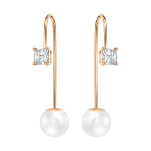 Swarovski | Attract Wire Pierced Earrings, White, Rose Gold Plating