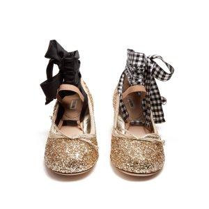 Glitter block-heel ballet pumps | Miu Miu