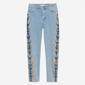 Jeans With Embroidered Flames