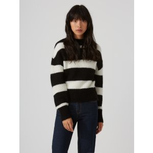 Striped Mohair-Wool-Blend Sweater in True Black