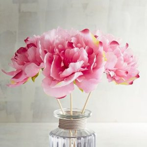 Faux Pink Peony Decorative Reeds