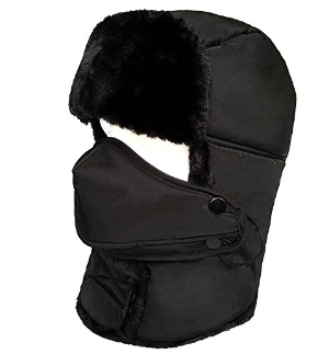 $7LETHMIK Winter Trapper Ushanka Hat Unisex Faux Fur Aviator Hunting Hat with Breathable Mask